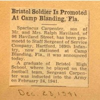 Bristol Soldier Is Promoted At Camp Blanding, Fla.
