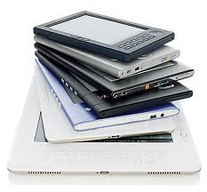 A stack of ereaders
