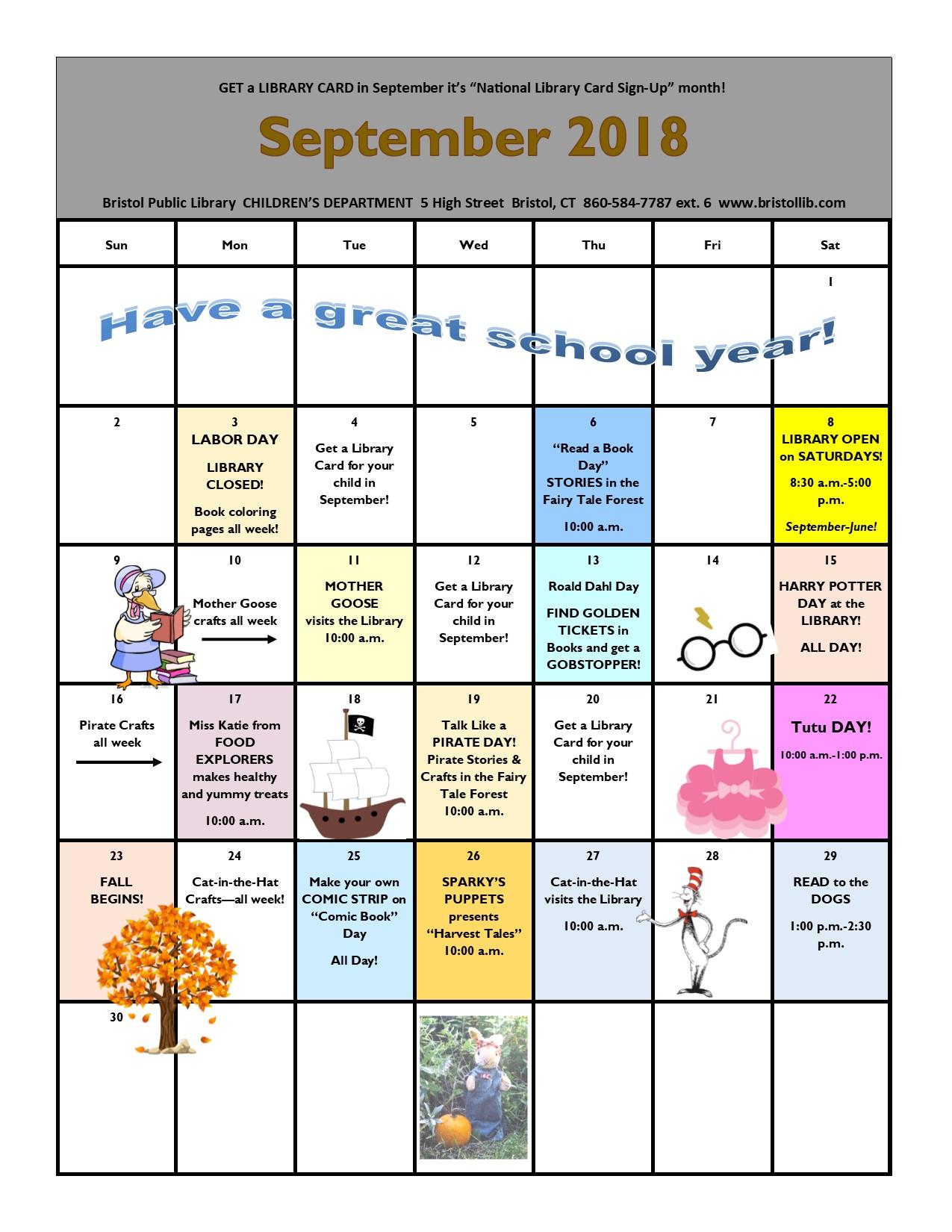 September 2018 calendar - Bristol Public Library