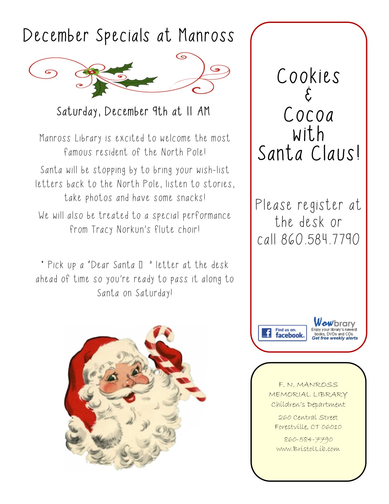 Cookies & Cocoa with Santa Claus at Manross! - Bristol Public Library