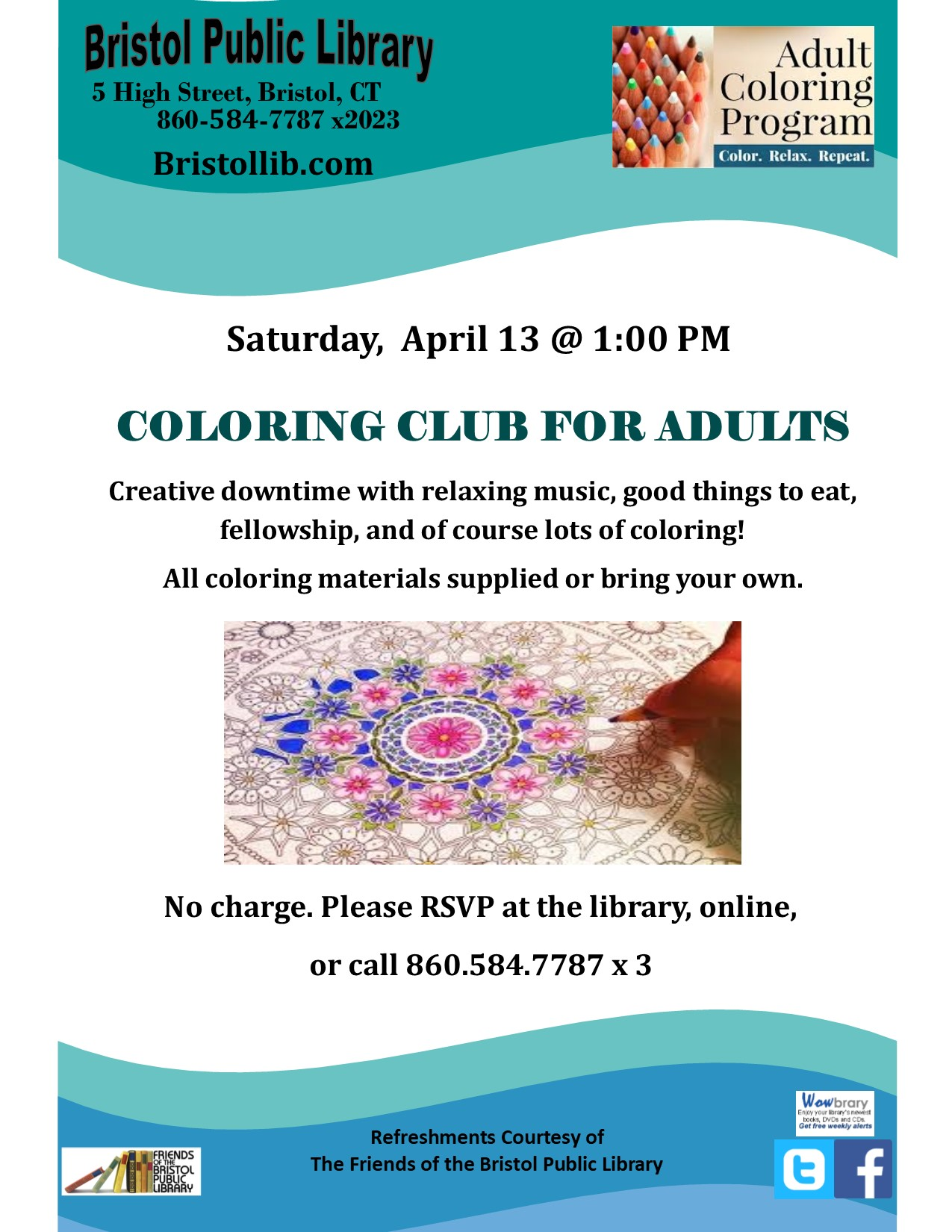 Coloring Club for Adults - Bristol Public Library